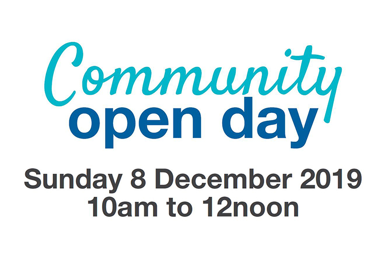 Banner reads 'Community Open Day – Sunday 8 December 2019, 10am–12noon.