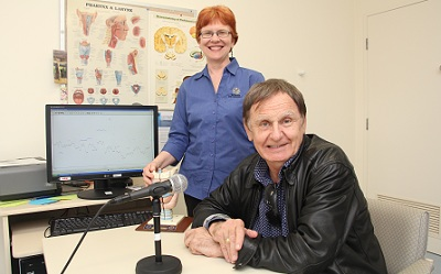 Fremantle Hospital Senior Speech Pathologist Gillian Penman (left) with Howard Sattler in a treatment room