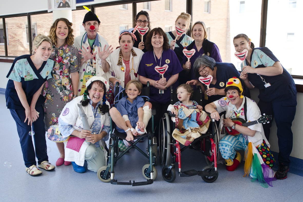 Clown doctors, patients and staff